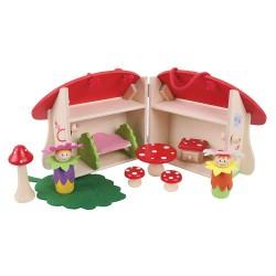 Przenośny zestaw domek dla wróżek Muchomorek otwierany