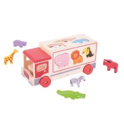 Drewniany sorter dla dziecka ciężarówka i zwierzęta Safari