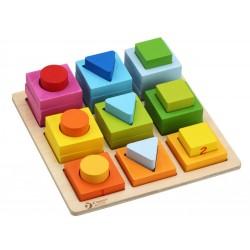 Układanka geometryczna - zabawka drewniana