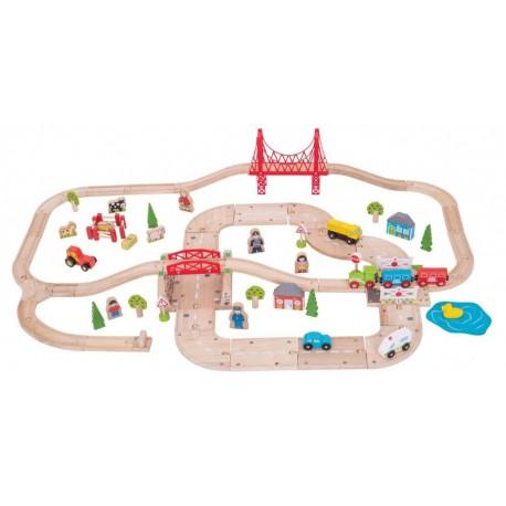 Zestaw drogowo-kolejowy - 80 elementów
