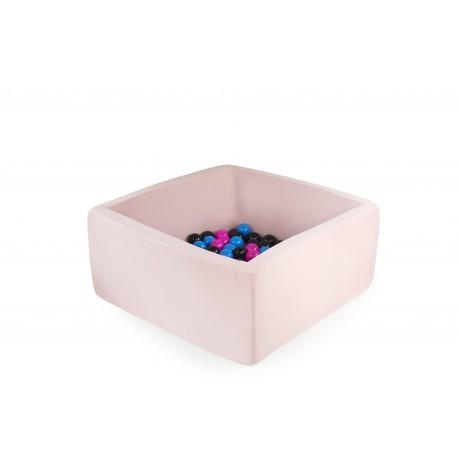 Suchy basen z piłeczkami 90x40x40 - pudrowy róż 200 piłeczek