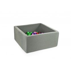 Suchy basen dla dzieci z piłeczkami 90x90x40 kwadratowy - szary 200 piłeczek
