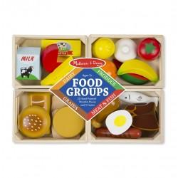 Jedzenie drewniane 4 rodzaje w skrzynkach
