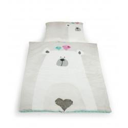 Zestaw kocyk i poduszka BIAŁY MIŚ z polaru Minky