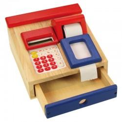 Drewniana kasa z kalkulatorem