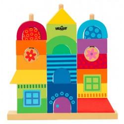 Klocki na palikach Mój dom - zabawka drewniana