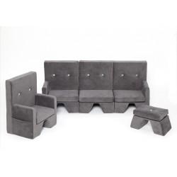 Zestaw sofa+fotel+podnóżek dla dziecka Premium MISIOO - szary