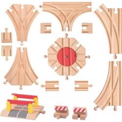 Akcesoria do kolejek z obrotnicą - zestaw 15 elementów