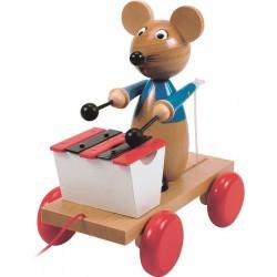 Grająca mysz klasyczna zabawka drewniana z dawnych lat