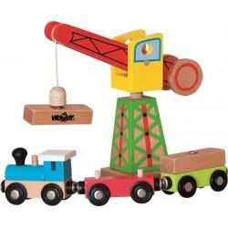 Dźwig z pociągiem zabawka drewniana