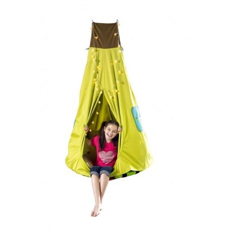 Huśtawka gniazdo z namiotem i lampkami