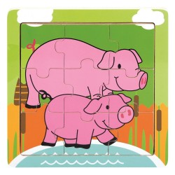 Drewniane Puzzle Farmino świnki