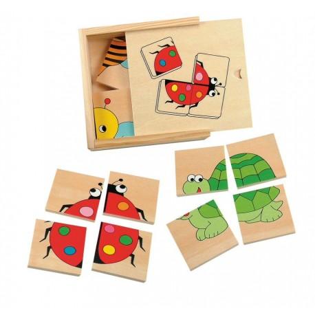 Drewniane puzzle małe zwierzaki - 4 szt.