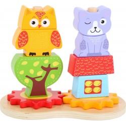 Drewniana układanka na palikach kot i sowa