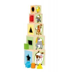 Kubeczki drewniane - wieża z sorterem