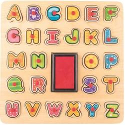 Puzzle ABC i stempelki z tuszem
