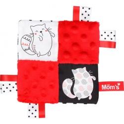 Szmatka-przytulanka Szeleścik z kotkiem czerwony