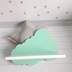 Drewniana półka chmurka - seledynowa