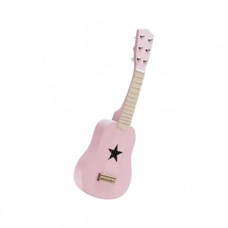 Drewniana gitara - różowa