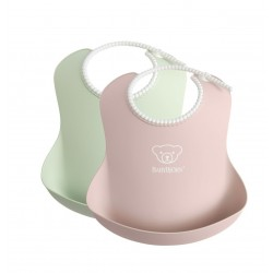 BABYBJORN - 2 śliniaki - Powder Green/ Powder Pink