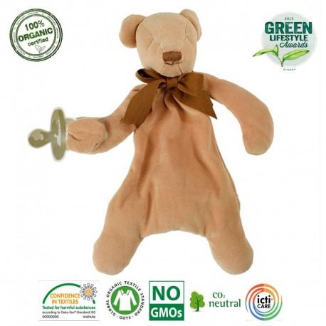 Maud N Lil Cubby The Teddy Comforter Organiczny Mięciutki Pocieszyciel dou dou z łapką na smoczek
