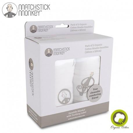 Matchstick Monkey Organic Cotton Swaddle Grey BIO Otulacz z gryzakiem 2 szt