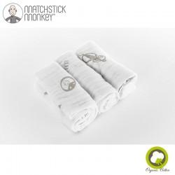 Matchstick Monkey Organic Cotton Muslin Grey Pieluszki muślinowe BIO 3 szt