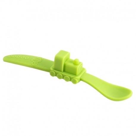 oogaa Green Train silikonowa łyżeczka do karmienia