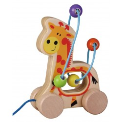 Drewniana żyrafa labirynt na kółkach