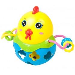 Interaktywny kurczaczek grzechotka - niebieski
