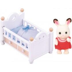 Sylvanian Families Zestaw z dzieckiem królików z czekoladowymi uszkami (łóżko dziecięce)