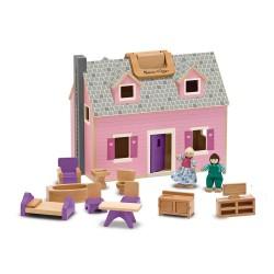 Mobilny składany domek dla lalek z akcesoriami