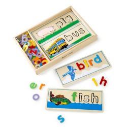 Ułóż i przeliteruj – Drewniana układanka z alfabetem