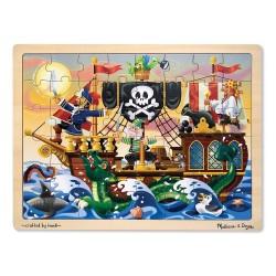 Duże drewniane puzzle – Piracka przygoda – 48el.