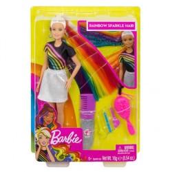 Barbie Błyszczące tęczowe włosy Lalka