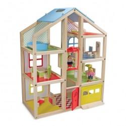 Drewniany duży domek dla lalek z figurkami i meblami