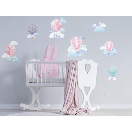 Naklejka na ścianę - balony - różowe