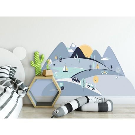 Naklejki na ścianę - Góry - niebieskie S