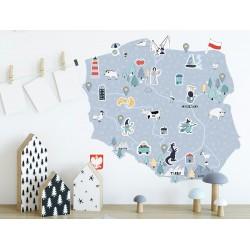 Naklejka na ścianę - mapa Polski - niebieska M