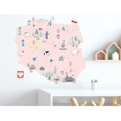 Naklejka na ścianę - mapa Polski - różowa S