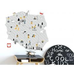 Naklejka na ścianę - mapa Polski - szara M