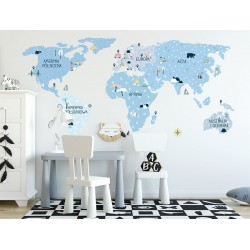 Naklejka na ścianę - mapa świata -ice cold L