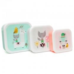 Petit Monkey - Zestaw 3 śniadaniówek lunchbox Lama i Przyjaciele
